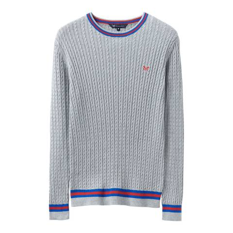 Crew Clothing Grey Stripe Cable Jumper