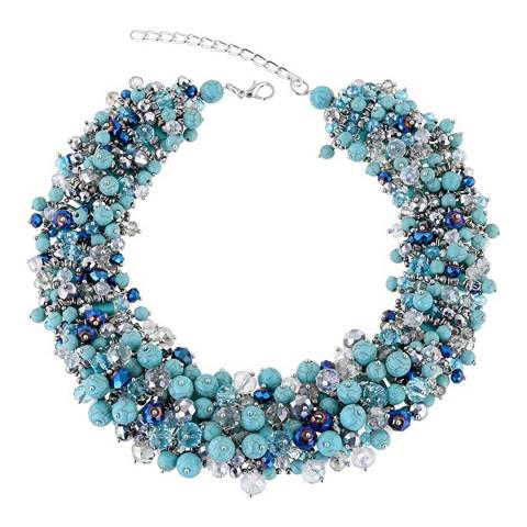 Liv Oliver Silver Plated Multi Turquoise & Aqua Blue Crystal Necklace