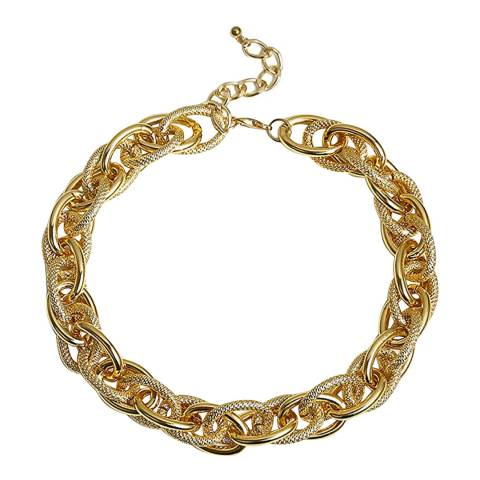 Chloe Collection by Liv Oliver Gold Textured Link Necklace