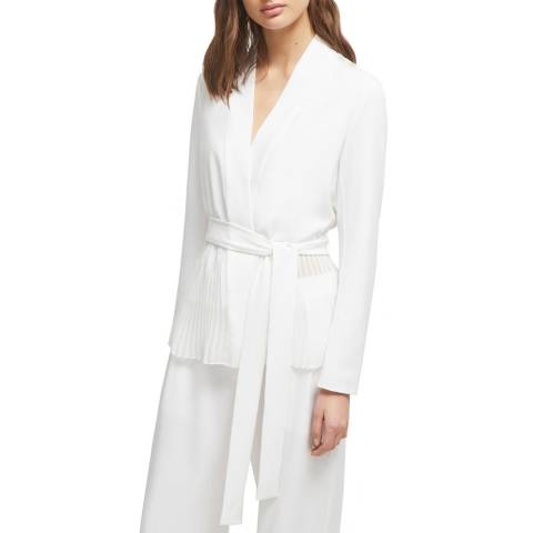 French Connection White Angeline Draped Jacket