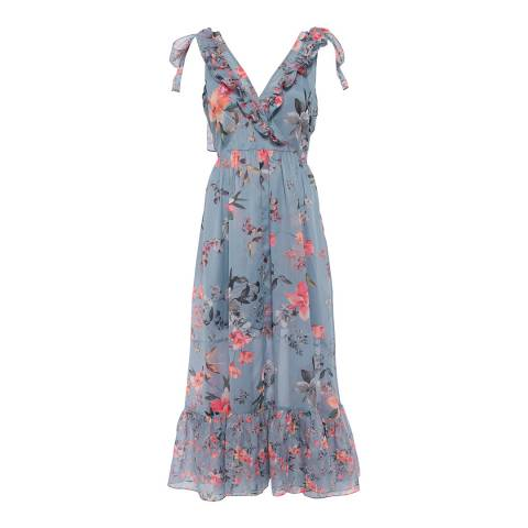French Connection Blue/Multi Cecile Sheer Midi Dress
