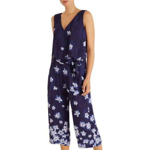 Fenn Wright Manson Navy Aubrie V Neck Jumpsuit