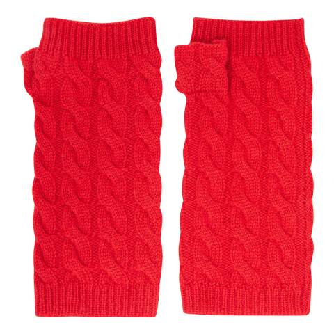 Laycuna London Red Cable Knit Cashmere Wrist Warmers