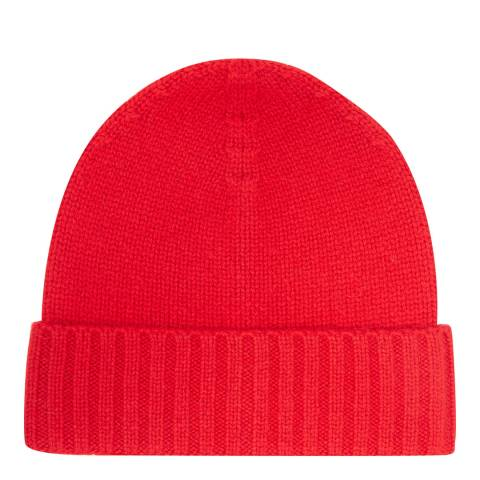 Laycuna London Red Cashmere Ribbed Hat