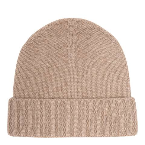 Laycuna London Beige Cashmere Ribbed Hat
