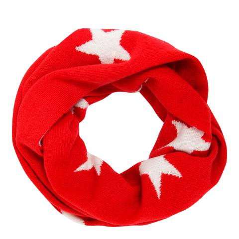 Laycuna London Red/White Star Cashmere Snood