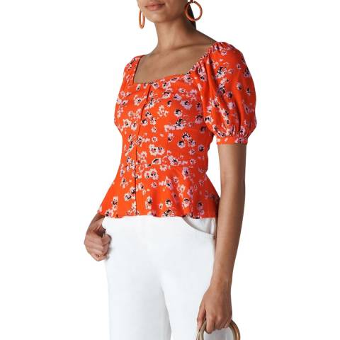 WHISTLES Orange Digital Daisy Print Bella Top