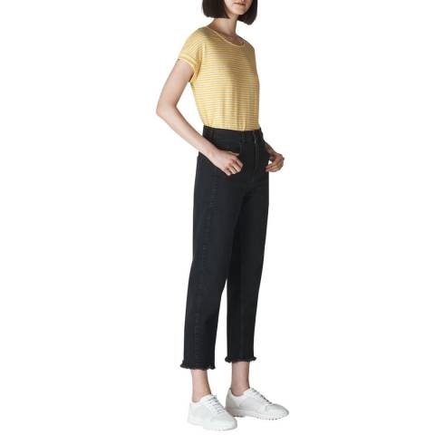 WHISTLES Yellow Stripe Relaxed Linen T-Shirt