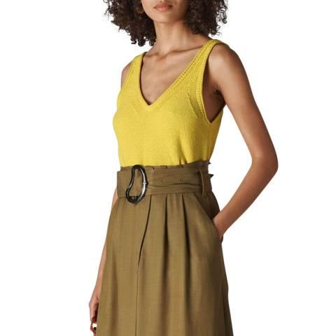 WHISTLES Yellow V Neck Knitted Vest