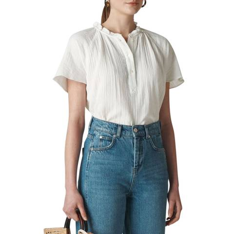 WHISTLES Ivory Tilly Textured Top