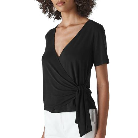 WHISTLES Black Cupro Wrap Front Top