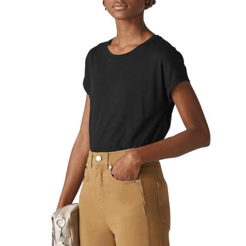 WHISTLES Black Minimal Cap Sleeve T-Shirt