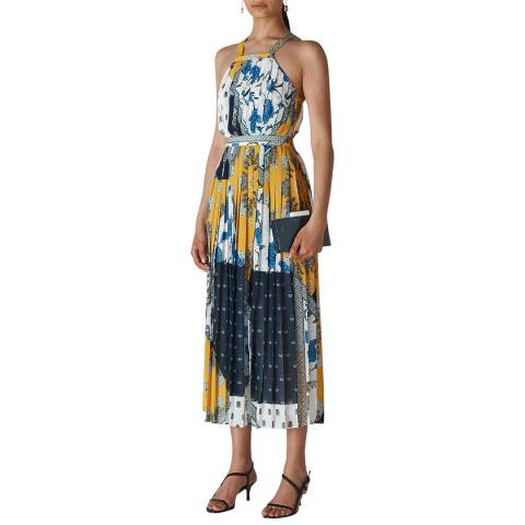 WHISTLES Blue Scarf Print Pleated Dress