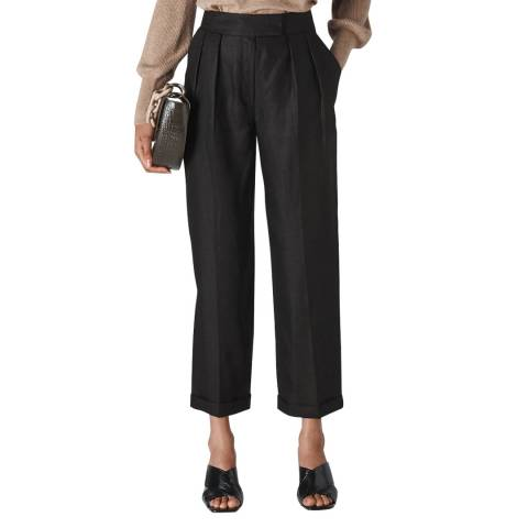 WHISTLES Black Pleated Lydia Linen Trousers