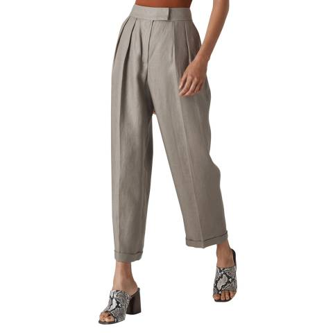 WHISTLES Grey Pleated Lydia Linen Trousers