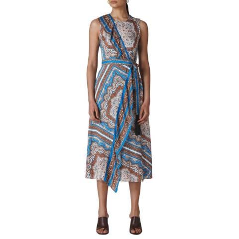 WHISTLES Blue Scarf Print Aadya Dress