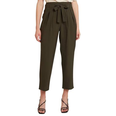 WHISTLES Khaki Ruth Pleated Front Trousers