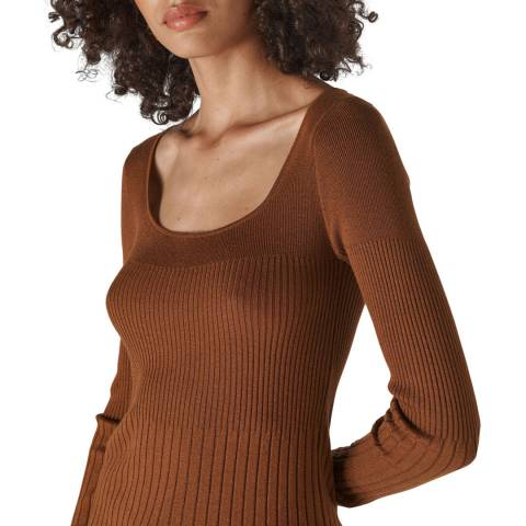 WHISTLES Toffee Silk Blend Rib Knit Top