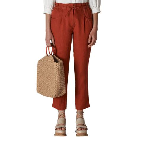 WHISTLES Red Leanora Linen Trousers