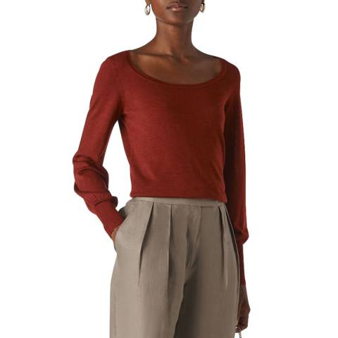 WHISTLES Rust Fine Merino Jumper