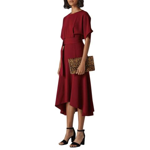 WHISTLES Burgundy Textured Belted Midi Dress