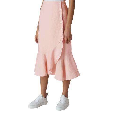 WHISTLES Pink Linen Button Frill Skirt