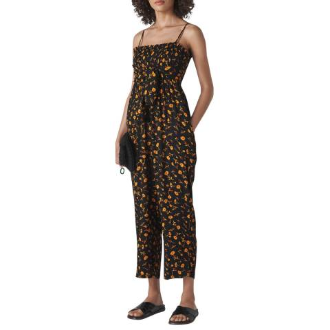 WHISTLES Black Floral Aster Textured Jumpsuit