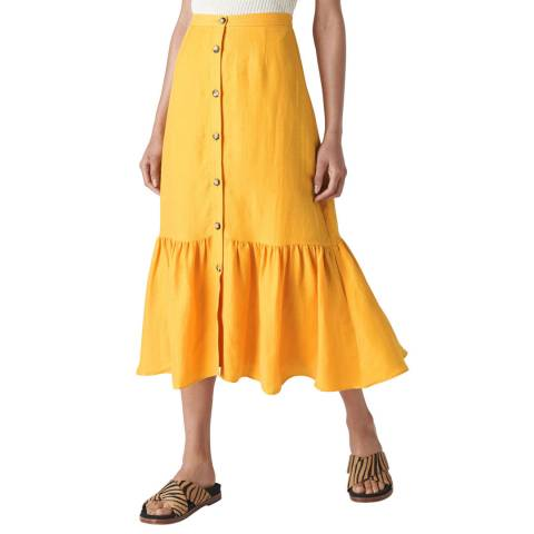 WHISTLES Yellow Button Through Linen Skirt