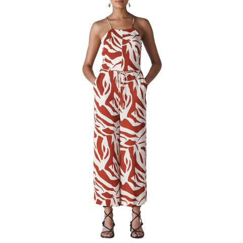 WHISTLES Multi Zebra Print Strappy Jumpsuit