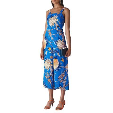 WHISTLES Blue Floral Exotic Jumpsuit