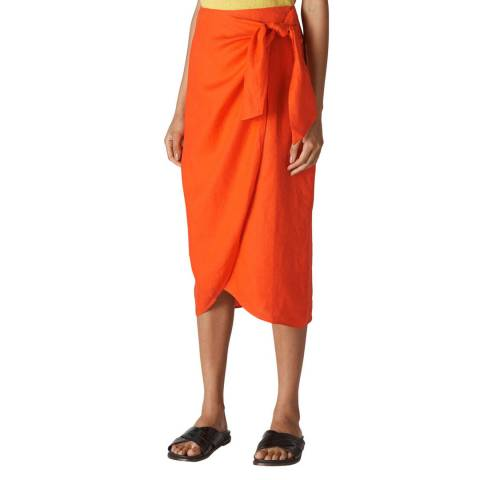 WHISTLES Orange Layla Linen Sarong Skirt