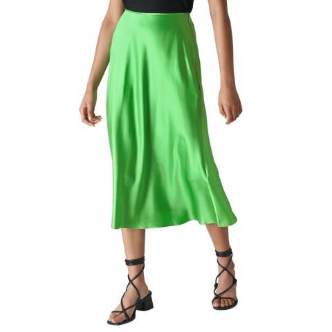 WHISTLES Green Silk Satin Bias Skirt