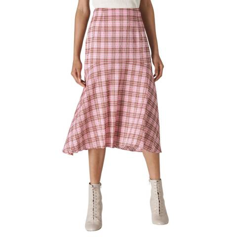WHISTLES Pink Check Seersucker Skirt