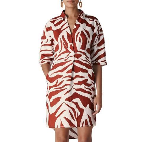 WHISTLES Multi Zebra Print Lola Linen Dress