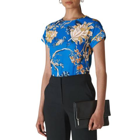 WHISTLES Blue/Multi Exotic Floral Shell Top