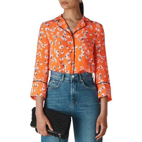 WHISTLES Orange Print Digital Daisy Pyjama Shirt