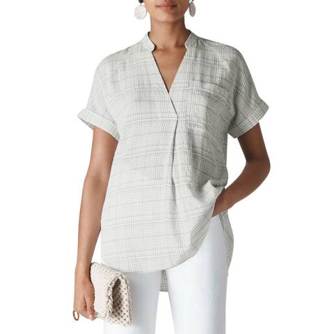WHISTLES White Lavina Check Pocket Shirt