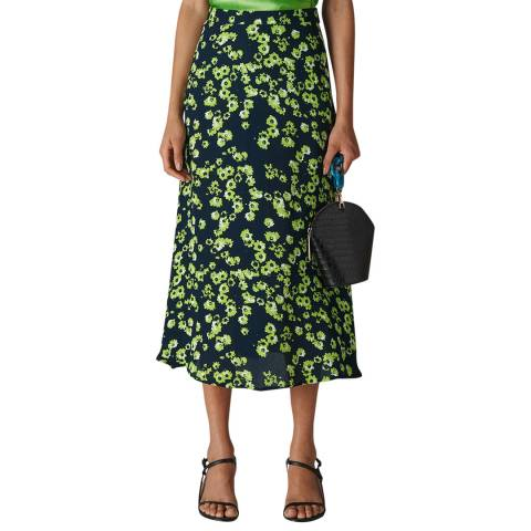 WHISTLES Green Daisy Print Skirt