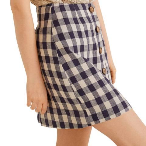 Mango Blue Checked Linen Skirt