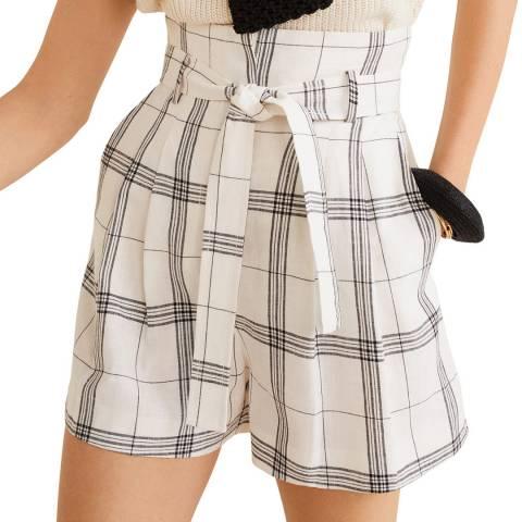 Mango White Linen Printed Shorts