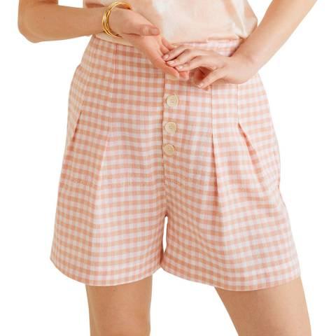 Mango Pink Buttoned Cotton Shorts