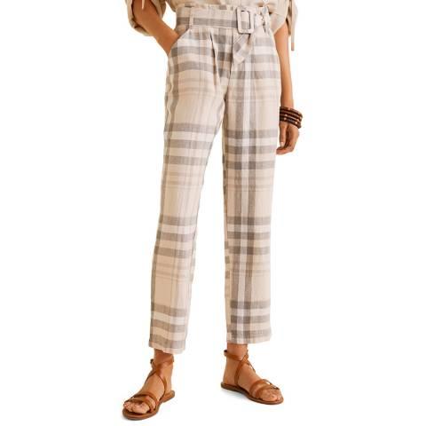 Mango Off White Check Linen Trousers