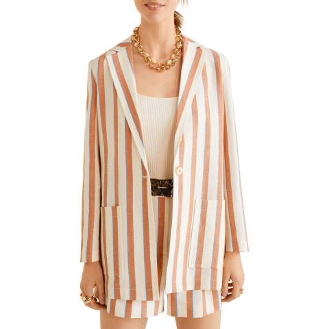 Mango Orange Striped Linen Blazer