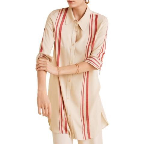 Mango Sand Oversize Striped Shirt