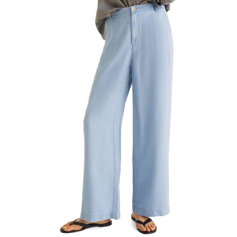 Mango Medium Blue Soft Palazzo Trousers