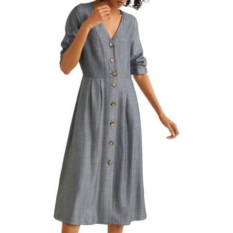 Mango Grey Buttons Herringbone Dress