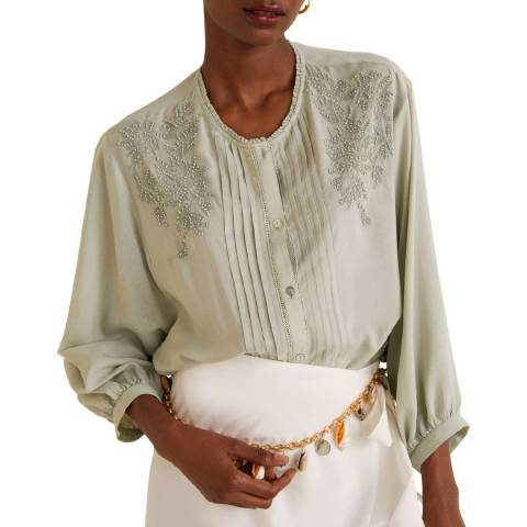 Mango Light Green Floral Embroidery Blouse