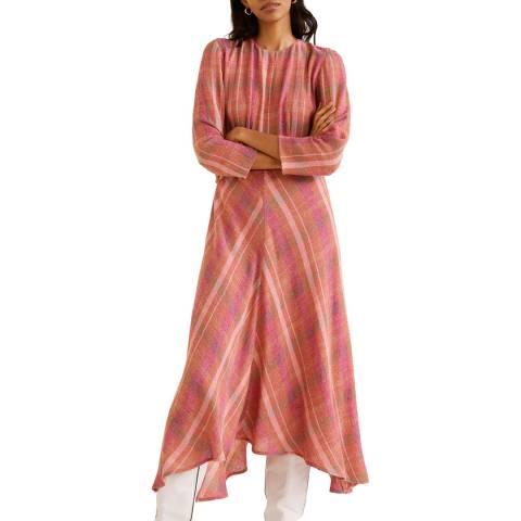 Mango Pink Check Pattern Midi Dress