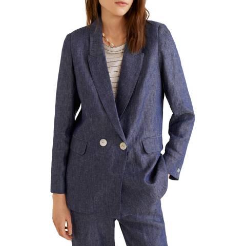 Mango Blue Linen Blazer Suit