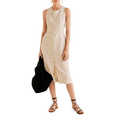 Mango Off White Checked Linen Dress